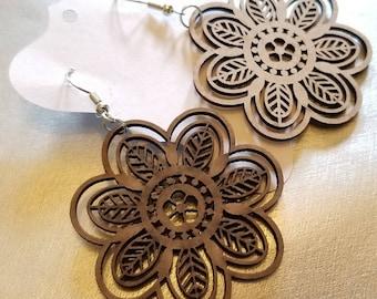 Wooden Flower Earrings I