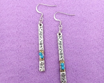Blue and Silver Stick Earrings