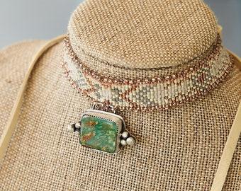 Seed bead loomed choker with Manassas turquoise pendant