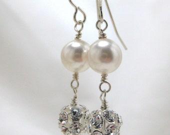 Bridal Rhinestone Earrings, Swarovski White Pearl Wedding Earrings, Dangle, Rhinestone Fireball Drop, Bridesmaids, Long Bridal Elegant