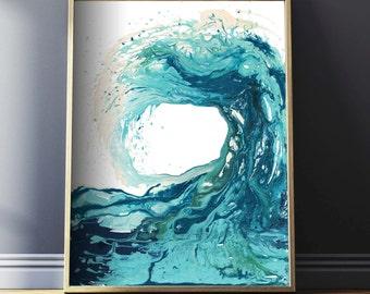 Ocean Print, Abstract Art Prints, Surf Art, Ocean Art, Beach Decor, Wave Art, Nautical Prints, Wave Painting, Waves Wall Art, Surfing Poster