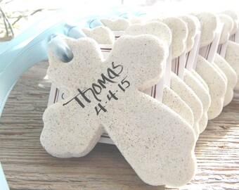 Personalized Baptism Favors Set of 10 Cross Salt Dough Ornaments