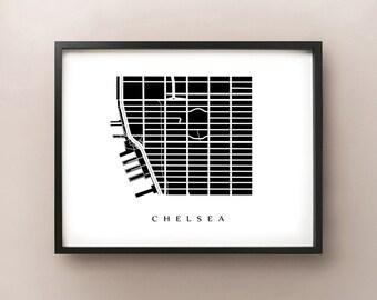 Chelsea Map - Manhattan, NYC Neighborhood Art Print