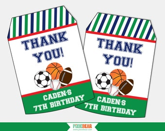 Sports Birthday Favor Tags - Sports Party Favors - Sports Birthday - Sports Party - Thank You Tags - Favor Tag - All Star (Instant Download)