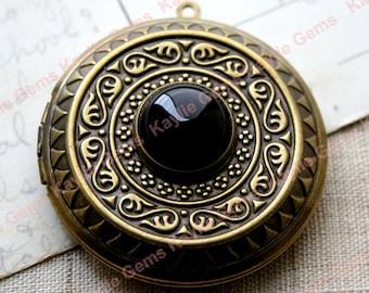 Intricate Black Jewel Locket Victorian Baroque Antique Style 45mm Large Necklace Pendant - 1 piece