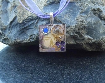 Space age steam punk,FREEPOST, resin jewelry, mixed media steampunk, quirky,  watch part jewellery, purple & blue themed necklace, giftwrap