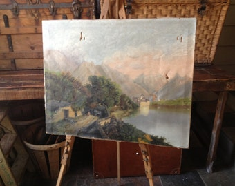 Wooden Painting Easel, French Artist Supply, Portable Folding Easel Antique Vintage Leather