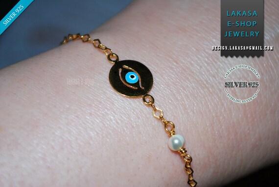 Enamel Eye Bracelet Sterling Silver Gold plated Fine Greek Art Jewelry Pearl Chain Best Ideas Gifts for her Birthday Anniversary Woman Kids