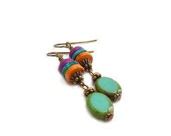 Turquoise Earrings - Colorful Mykonos Greek Beads - Picasso Glass Ovals - Bohemian Hippie Earrings