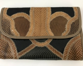 Vintage 1980s Varon Leather Clutch/Leather Patchwork Handbag/Black and Brown Patchwork Leather Clutch/ Reptile Collage Clutch