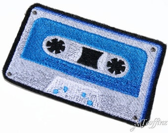 Retro 80s Neon Turquoise Blue Cassette Tape Iron On Embroidery Patch MTCoffinz