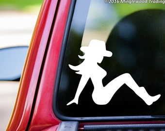 """Mudflap Cowgirl - Trucker Girl Lady Country Truck Vinyl Decal Sticker - 5"""" x 3.5"""" *Free Shipping*"""