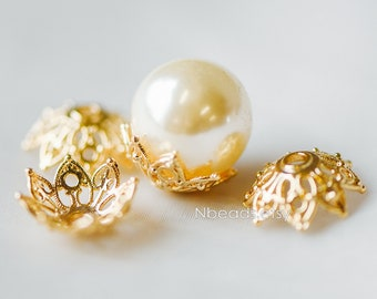 10pcs Gold Floral Bead Caps 15mm Large, Fit 16-18mm Beads, Real Gold plated Brass Flower Cap Ends, Lead Nickel Free (GB-193)