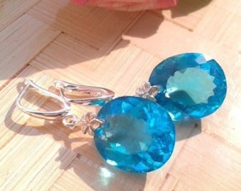 "Silver earrings with Topaz ""Sea blue"""
