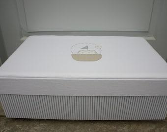 Baptism/Christening Box Carriage/Baptism Fabric Keepsake Box/Christening Box/Linen Fabric Storage Box/Boat Fabric Box/Greek Orthodox Baptism