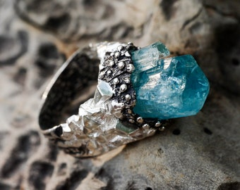 """Size 7.5 Sterling Silver Natural Raw Aquamarine Ring """"Kailash"""" READY TO SHIP, Crystal Ring,One Of A Kind Ring,Exclusive Ring, unique jewelry"""