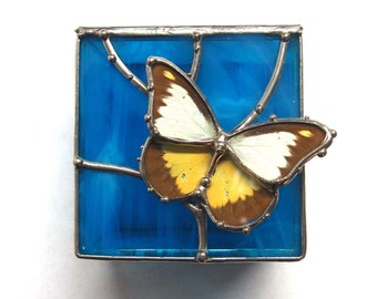 Blue Stained Glass Box with Real Butterfly - Wildlife Gifts - Jewelry Storage - Spring Home Style