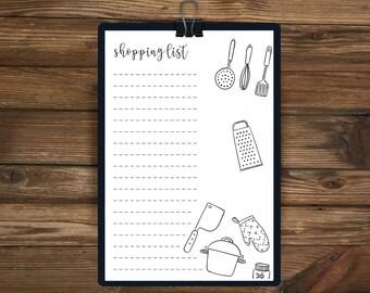 Printable Shopping List, Food, Organised, Daily Planner, A4 Daily planner, Printable Planner, 2017, Shopping Planner, Shopping List