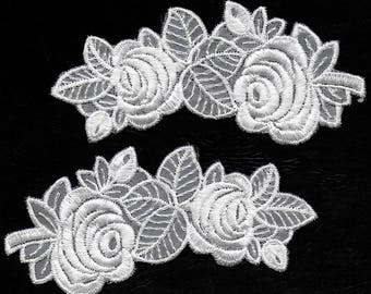 White Roses: Floral Sew-On Lace Appliques - Set of 2 New / Unused Mirror-Image Appliques