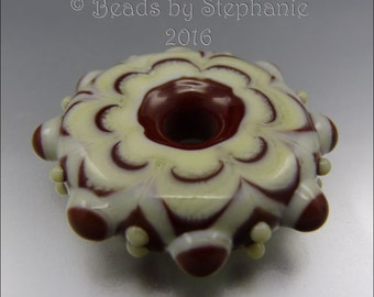 LAMPWORK MANDALA/DISK Bead – Ivory & Mahogany - Handmade Jewelry Supplies - by Stephanie Gough sra fhfteam leteam