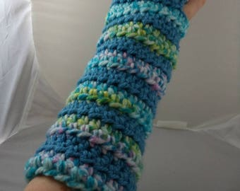 Blue and Pastel Striped Crocheted Arm Warmers (size M-L) (SWG-AW-MJ13)