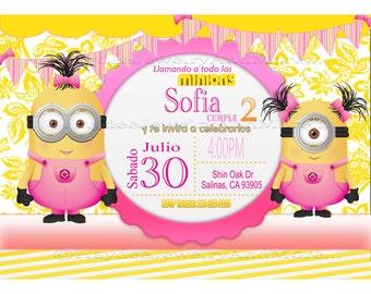 Spanish Invitation Minions  Party Theme- Invitación Fiesta Minions Para Imprimir