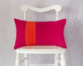 Bright Pink Cushion Cover, Cerise Throw Pillow Cover, Decorative Pink and Orange Cushion, Modern Cushion, Pleated Cushion, Lumbar Pillow