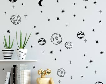 Planet wall decals, Solar system sticker wall decor, Astronomy nursery, Outer space decor, Kids wall decals, Space nursery decor #142