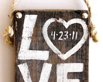 Wedding Decor Love Sign Hand Painted on Reclaimed Wood with Personalized Anniversary Date Wedding Sign Beach Wedding Reception Bridal Shower