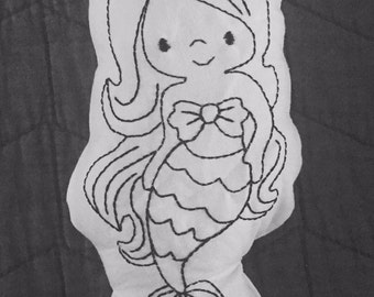 Doodle doll color me doll color it doll washable doll handmade doll gira doll stuffer doodle doll stuffed doll mermaid doll little mermaid