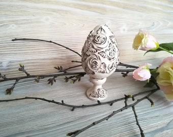Easter egg ornament Easter decoration Easter home dekor Easter greeting  Easter goose-egg Egg for mother  Easter decor Shabby chic egg