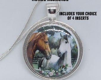 Interchangeable Magnetic Horse Necklace with 4 inserts