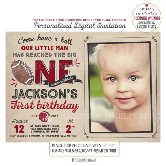 Football First Birthday Invitation