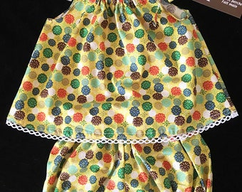 all bloomer/panty puffed and top ribbons pull-on floral fabric, yellow mustard 6,12,18,24 months