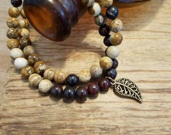 Neutral Wrap Bracelet with Leaf