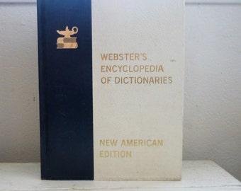 Encyclopédie de dictionnaires Webster, le dictionnaire webster, grand livre, livre relié, couverture bleue et blanche, cadeau de collège, l'obtention du diplôme
