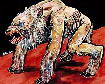 Mixed Media Ginger Snaps Werewolf Painting (Print)