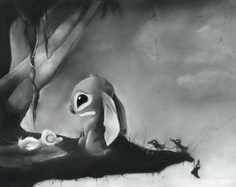 Lilo and Stitch Lonely Stitch charcoal fine art print signed wall art museum quality giclée inspired disney wall art print pastel charcoal