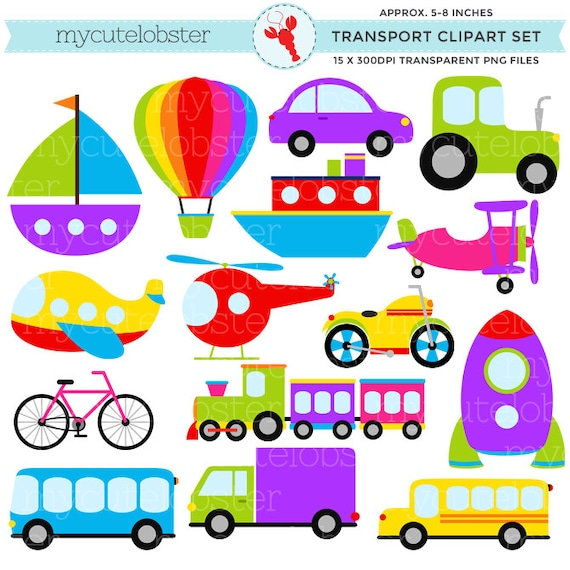 Fabulous Transport Clipart Set - clip art set of transportation, vehicles  KH79