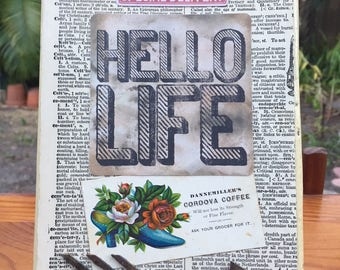 Hello, Life - Mixed Media Assemblage on Salvaged Wood