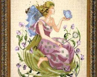 LAST ONES! Coming Soon! MIRABILiA Butterfly Fairy counted cross stitch patterns INCLUDES embellishments at thecottageneedle.com garden