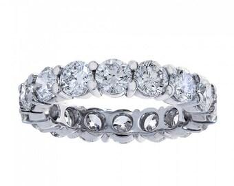3.84 Carat Round Cut Diamond Eternity Band Ring 14k White Gold