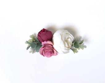 Specialty hair clip, flower crown, newborn halo, baby flower crown, baby floral clip, alligator clip