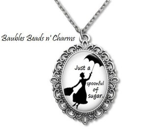 Mary Poppins Quote Necklace, Mary Poppins Pendant, Mary Poppins Jewelry, Mary Poppins Book Necklace, Literary Necklace, Literary Jewelry