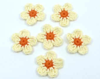 Crochet applique, crochet flowers. 6 small applique flowers, cardmaking, scrapbooking, craft embellishments, appliques, sewing accessories.