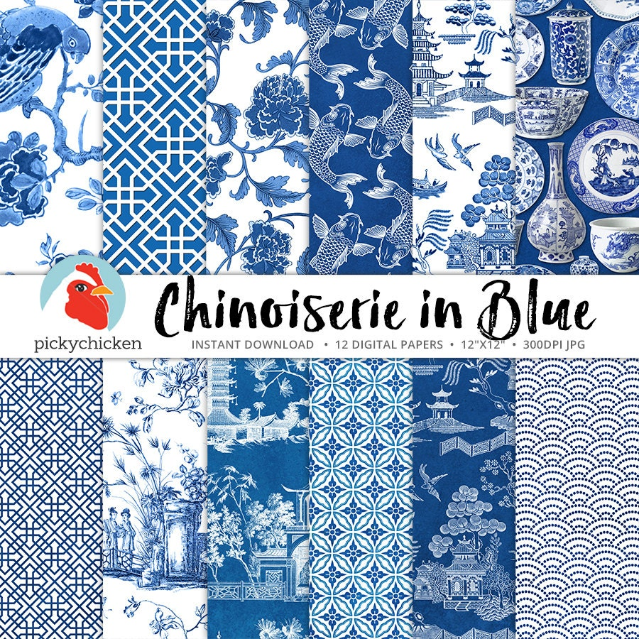 Chinoiserie Digital Paper Chinese Patterns Blue Amp White