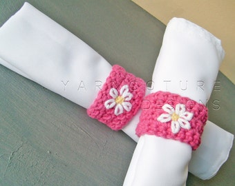Springtime Napkin Rings - With Hand Embroidered Flowers