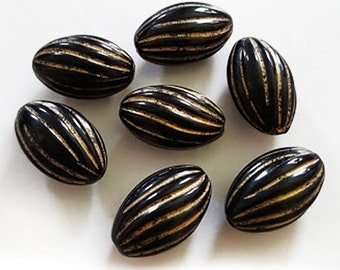14.5x9mm Black Gold twisted enlaced oval acrylic beads 10pcs