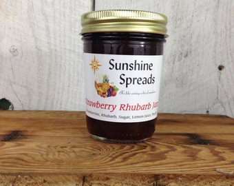 Strawberry Rhubarb Jam, 8 Ounce Jar, Amish Made