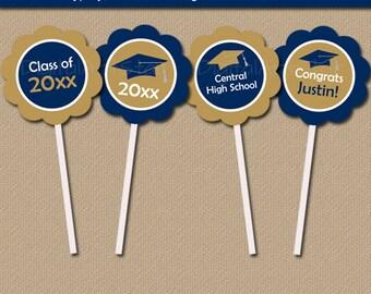 Graduation Cupcake Toppers, High School Graduation Party Ideas, Graduation Decorations, Grad Party Decor, Navy Blue Graduation 2018 G1
